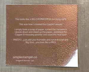 Copper Het Embossing tips and tricks, Stampin' Up! Thoguthful Branches Bundle, Susan Itell - stampinup