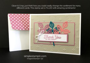 Flourishing Phrases, Sparkle Embossing Folder,In Color Designer Series Paper Stack, Stampin' Up!, Susan Itell, Thank You Card