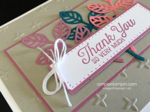 Flourishing Phrases, Sparkle Embossing Folder,In Color Designer Series Paper Stack,Clean and Simple, Stampin' Up!, Susan Itell, Thank You Card