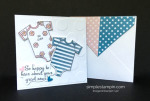 Stampin' Up! Baby Card, Large Polka Dot Embossing Folder,Happy Happenings Stamp Set, Aqua Painters, Susan Itell - stampinup