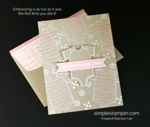 Stampin Up! Made with Love Embossing Baby Girl Card - Susan Itell Stampinup