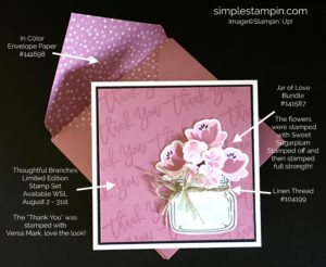 Stampin' Up! Thank you card, Thoughtful Branches Stamp, Jar of Love Bundle, Susan Itell, Stampinup