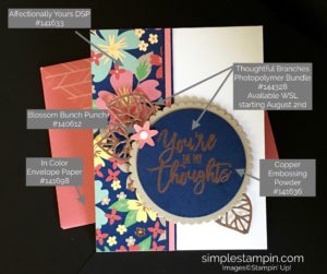 Stampin' Up! Thoughtful Branches Bundle, Affectionally Yours DSP, Copper Heat Embossing, Susan Itell - stampinup
