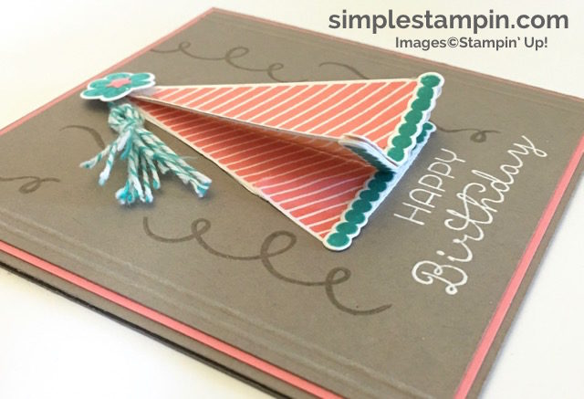 Biggest Birthday Ever Bundle from Stampin' Up!, Party Hat Birthday Card, Heat Embossing, Susan Itell - simplestampin