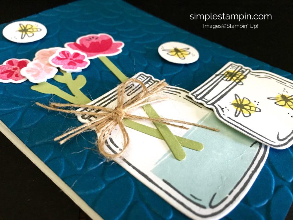 Jar of Love Stampin' Up! Easel Card, Linen Thread, Petal Burst Embossing FOlder, Susan Itell - stampinup