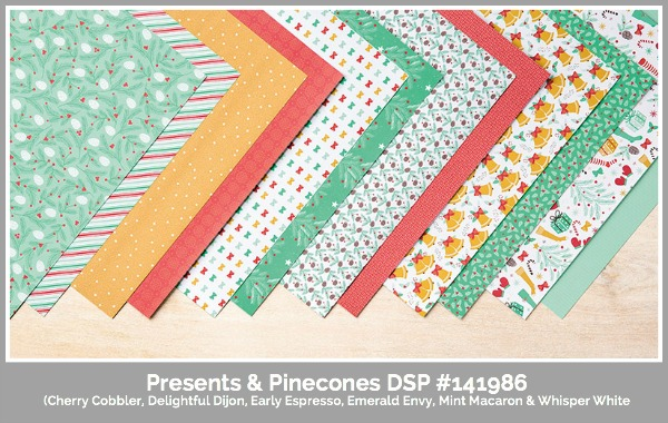Presesnts & Pinecones DSP, Stampin' Up, Susan Itell, simplestampin