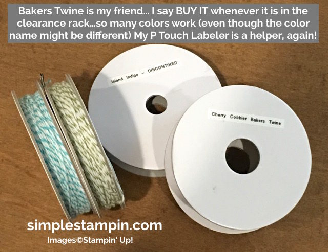 SImple Stampin' Tuesday Tips and Tricks, How to store Bakers Twine