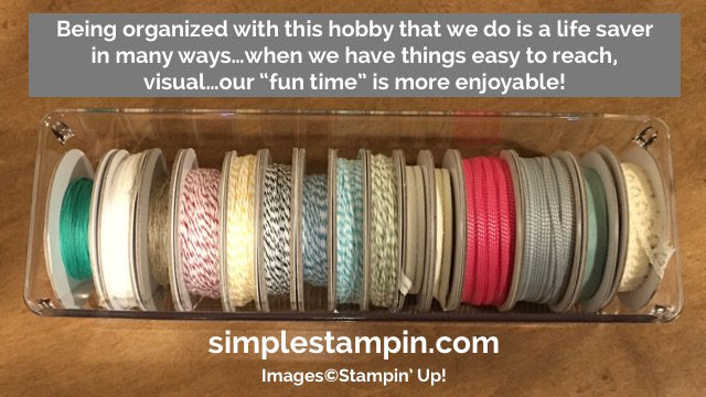 Simple Stampin' Tips and Tricks for storing Bakers Twine and Ribbon