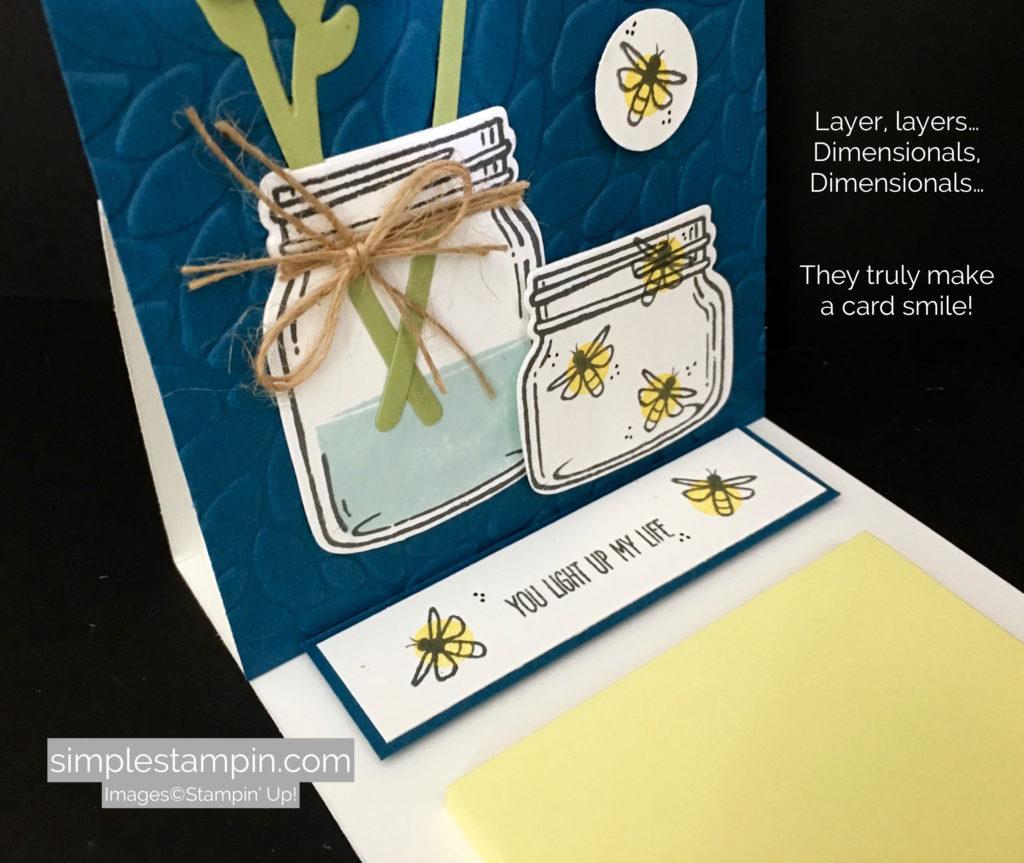 Stampin' Up! 3-D Card using the Jar of Love Bundle, Petal Burst Embossing FOlder, Linen Thread, Susan Itell - stampinup