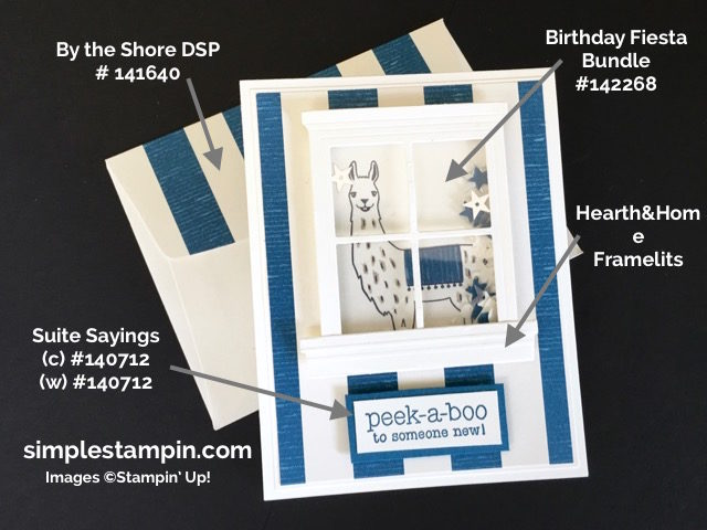 Stampin' Up! Baby Boy Shaker Card using the Bitrhday Fiesta Bundle, Suite Sayings, Window Sheets, By the Shore DSP, Susan Itell - simplestampin