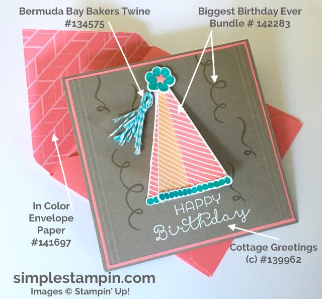 Stampin' Up! Biggest Birthday Ever Bundle, Bermuda Bay Bakers Twine, Heat Embossing, Susan Itell - simplestampin