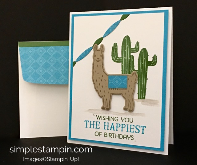 Stampin' Up! Birthday Fiesta Bundle Card, Aqua Painter, Festive Birthday DSP, Susan Itell - stampinup