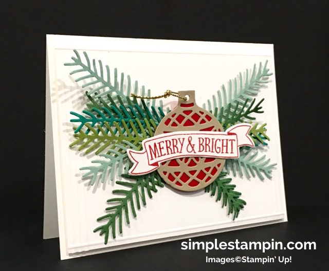Stampin' Up! Christmas Card, Christmas Pine Photopolymer Bundle,Delicate Ornaments Thinlits,Simple Saturday,Stitched with Cheer Photopolymer,Clean and Simple,Susan Itell- simplestampin