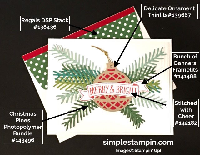 Stampin' Up! Christmas Card, Christmas Pine Photopolymer Bundle,Delicate Ornaments Thinlits,Simple Saturday,Stitched with Cheer Photopolymer,Product Details,Susan Itell- simplestampin