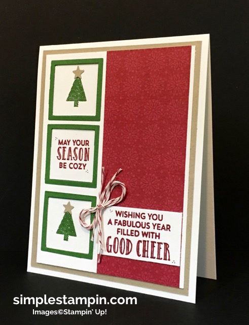 Stampin' Up! Christmas Card, Stitched With Cheer Photopolymer, PPA #316,Susan Itell- simplestampin