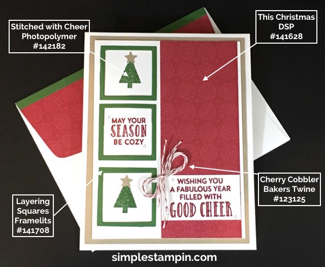 Stampin' Up! Christmas Card, Stitched With Cheer Photopolymer,Cherry Cobbler Bakers Twine,Layering Square Framelits, PPA #316,Clean and Simple Christmas Card,Product Details,Susan Itell- simplestampin.jpg.jpg