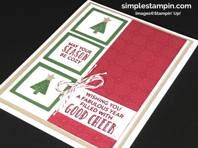Stampin' Up! Christmas Card, Stitched With Cheer Photopolymer,Cherry Cobbler Bakers Twine,Layering Square Framelits, PPA #316,Susan Itell- simplestampin