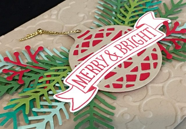 Stampin' Up! Christmas Card,Christmas Pines Bundle,Holly Embossing Folder,Delicate Ornaments,Clean and SImple,Banners Framelits,Regals DSP Stack,Step It Up! Sunday,Susan Itell - simplestampin