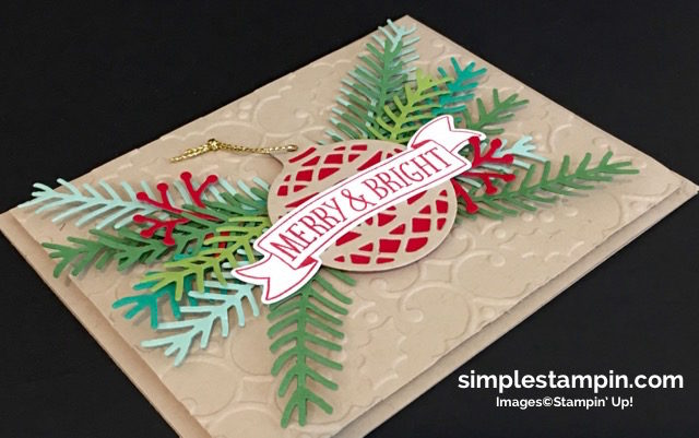 Stampin' Up! Christmas Card,Christmas Pines Bundle,Holly Embossing Folder,Delicate Ornaments,Clean and SImple,Regals DSP Stack,Step It Up! Sunday,Susan Itell - simplestampin