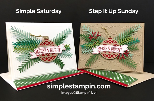 Stampin' Up! Christmas Card,Christmas Pines Bundle,Holly Embossing Folder,Delicate Ornaments,Holly Embossing Folder,Regals DSP Stack,Step It Up! Sunday,Susan Itell - simplestampin