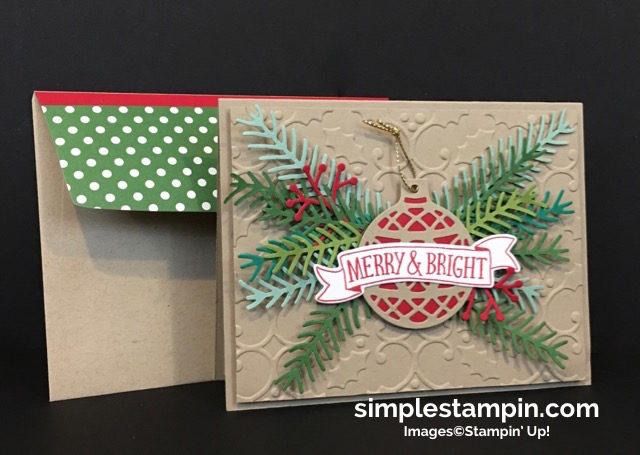 Stampin' Up! Christmas Card,Christmas Pines Bundle,Holly Embossing Folder,Delicate Ornaments,Regals DSP Stack,Step It Up! Sunday,Susan Itell - simplestampin