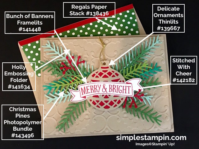 Stampin' Up! Christmas Card,Christmas Pines Bundle,Holly Embossing Folder,Delicate Ornaments,Susan Itell - simplestampin