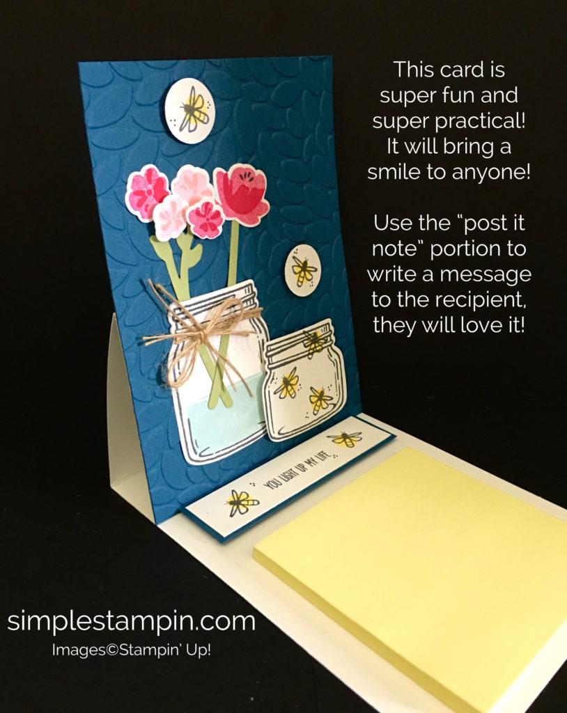 Stampin' Up! Easel Card using the Jar of Love Bundle, Petal Burst Embossing Folder, Linen Thread, Susan Itell - stampinup