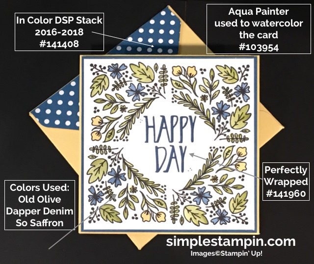 Stampin' Up! Paper Pumpkin August 2016, Watercoloring using the Aqua Painter,Perfectly Wrapped Photopolymer, Susan Itell - simplestampin