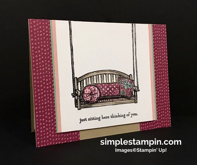 Stampin' Up! Sitting Here Photopolymer, Blooms & Bliss DSP, Watercoloring, Susan Itell - simplestampin