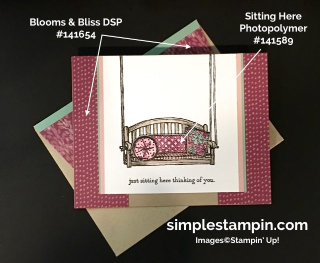 Stampin' Up! Sitting Here Photopolymer, Blooms & Bliss DSP, Watercoloring,Paper Tole Techique,Product Supplies,Susan Itell - simplestampin