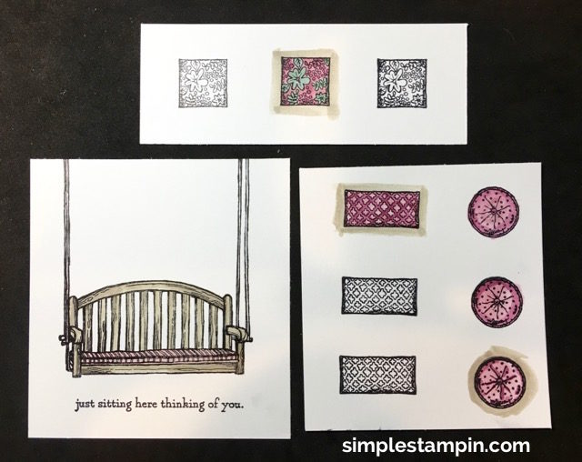 Stampin' Up! Sitting Here Photopolymer, Blooms & Bliss DSP, Watercoloring,Paper Tole Techique,Tips & Tricks #2, Susan Itell - simplestampin