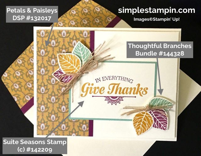 Stampin Up! Suite Seasons Cards, Thoughtful Branches, Petals & Paisleys DSP, Susan Itell - simplestampin