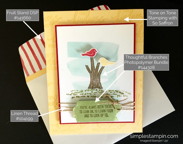 Stampin' Up! Thoughtful Branches Bundle, Thinking of you card, Linen Thread, Susan Itell - stampinup