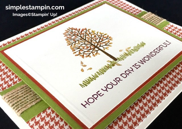 Stampin' Up! Fall Card, Totally Trees Photopolymer, Cottage Greetings,Burlap Ribbon,Simply Scored,Susan Itell - simplestampin