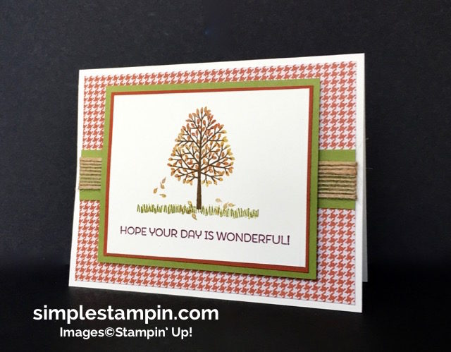 Stampin' Up! Fall Card, Totally Trees Photopolymer, Cottage Greetings,Burlap Ribbon,Sponge Daubers,Clean and SImple,Simply Scored,Susan Itell - simplestampin