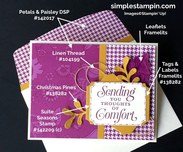 stampin-up-simple-stampin-weekend-challenge-suite-sayingspetals-paisley-dsplinen-threadtags-labels-framelits-leaflet-framelitsproduct-how-tos-susan-itell