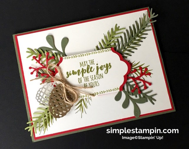 Stampin' Up!,Christmas Pines Bundle,Big Shot,Lots of Labels Framelits,Linen Thread,Product Details,Clean & Simple Christmas Card,Susan Itell - simplestampin