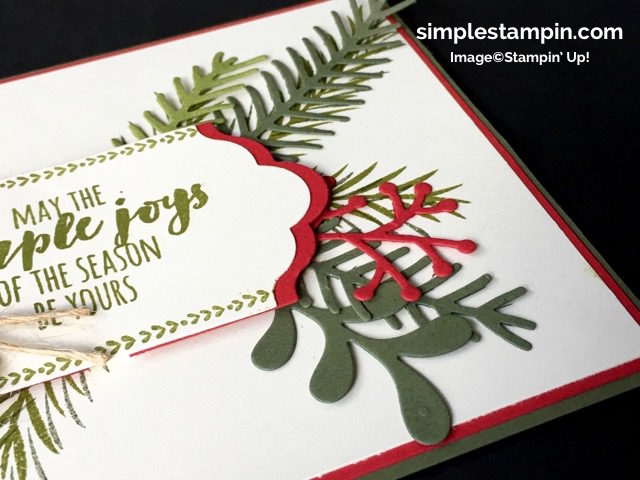 Stampin' Up!,Christmas Pines Bundle,Big Shot,Lots of Labels Framelits,Linen Thread,Product Details,Stampin Dimensions,Clean & Simple Christmas Card,Susan Itell - simplestampin